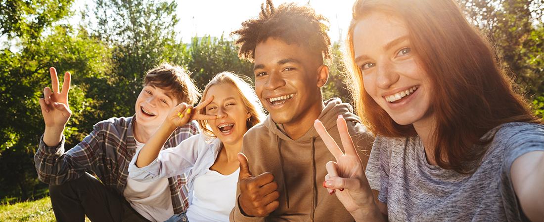 Four teens taking a selfie